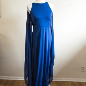 Blue Dress with Sheer Winged Cape Fits Smaller M-L